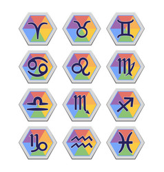 set of flat icons with signs of zodiac vector image