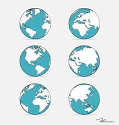 Set of modern globes vector image