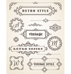 Set of Retro Vintage Badges Frames Labels and vector