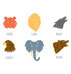 Set with heads of various wild animals vector