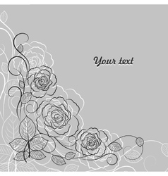 Simple floral pattern in black and white vector image
