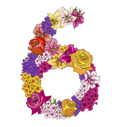 Six digit made of different flowers vector