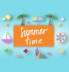 Summer time art paper concept vector