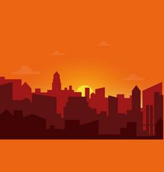 sunset in city cityscape silhouette sunrise vector image