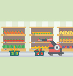 the use of robotic technologies in shopping vector image