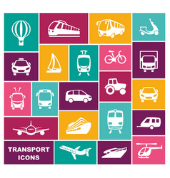transport icons in flat style vector image