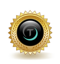 Trueusd cryptocurrency coin gold badge vector