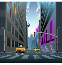 urban life city in morning vector image