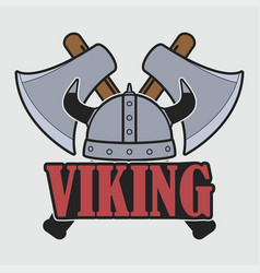viking logo with helmet and crossed axes vector image