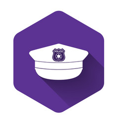 White police cap with cockade icon isolated vector