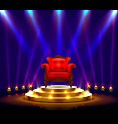 Winner podium art red chair on scene vector