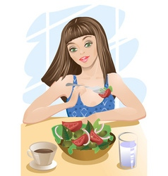 Woman Eating Salad Cartoon vector