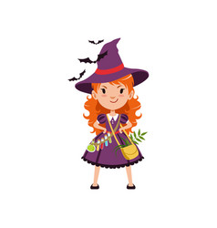 young red-haired girl witch standing with arms vector image