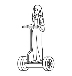 Young woman in folding e-scooter vector