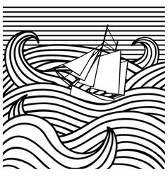 abstract ship at sea vector image vector image