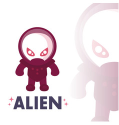 alien in space suit in flat style over white vector image vector image