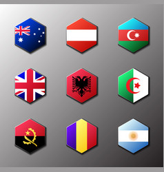 hexagon icon set flags of the world with official vector image