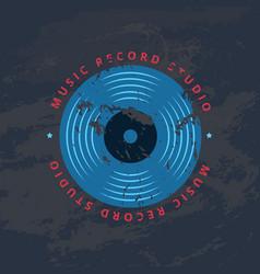retro sound record studio vinyl music shop club vector image
