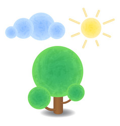 textured tree cloud and sun optimistic summer vector image vector image