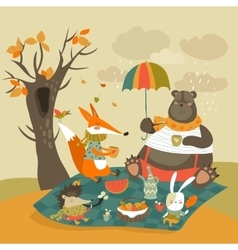 Animals at picnic in autumnal forest vector image vector image