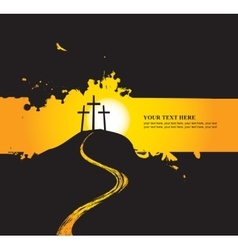 Christian themes with three crosses vector image