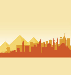 egypt silhouette architecture buildings town city vector image