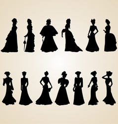 Victorian Women Silhouettes vector image