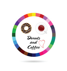 donuts and coffee icon vector image vector image