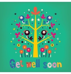 Get well soon card vector image