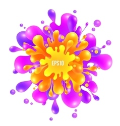 Pink and orange paint splash on white vector image vector image
