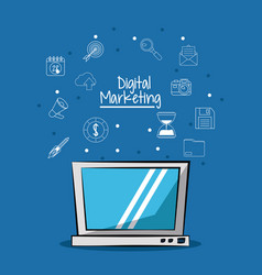 poster of digital marketing with laptop computer vector image