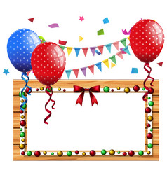 border template with blue and red balloons vector image vector image