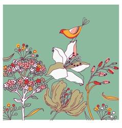 Flower background with bird vector