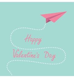 Origami pink paper plane dash line valentines day vector