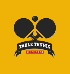 vintage color table tennis logo ping pong vector image vector image