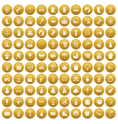 100 children icons set gold vector