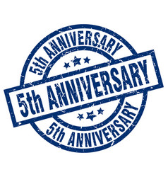 5th anniversary blue round grunge stamp vector