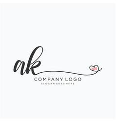 Ak initial handwriting logo design vector