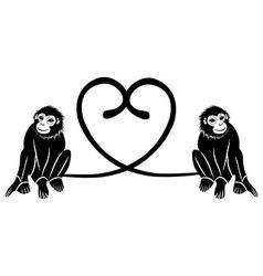 Animal love couple of cute monkeys shaped heart vector