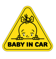 Baby in car sticker funny small face of girl vector
