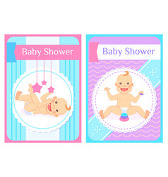 Baby shower greeting cards child sits and lays vector