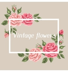 Background with vintage roses Decorative retro vector