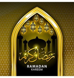 Beautiful Ramadan Kareem gold greeting card vector