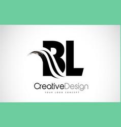 Bl b l creative brush black letters design vector