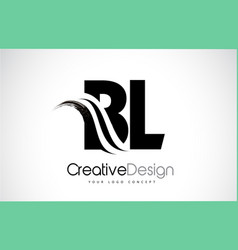 Bl b l creative brush black letters design with vector