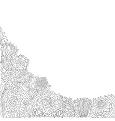 Black and white line floral corner pattern vector