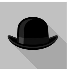 Black bowler hat icon flat style vector