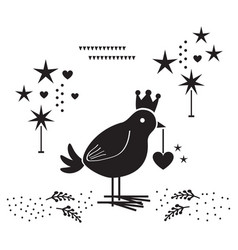 Black silhouette cute bird with heart ornament vector