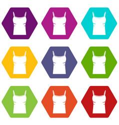 Blank women tank top icon set color hexahedron vector