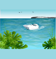 Boat on ocean vector